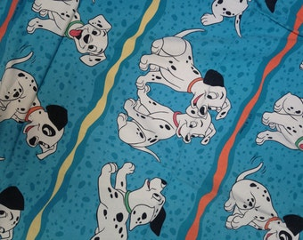 Vintage Bedding Disney 101 Dalmations single twin flat sheet & pillowcase for Patchwork Quilting Upcycling