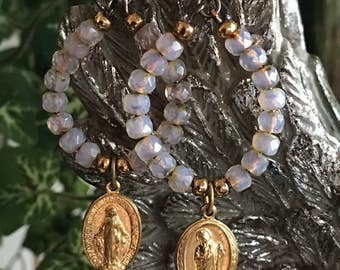 Repurposed vintage gold tone medals pink Czech glass earrings OOAK