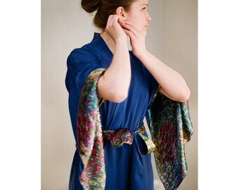 The Haiku. One custom Blue long Haiku robe in faux silk crepe with pockets Long kimono with Vintage Bohemian Art Deco lingerie Gift for her