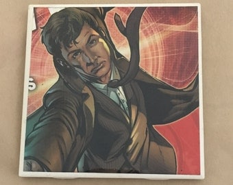 David Tennant 10th Doctor Dr. Who Coaster. Upcycled from comic book. Water and heat resistant. Great for Whovians!