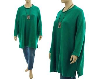 Oversized green sweater, merino wool long knitted sweater, lagenlook batwing green merino wool sweater plus size women XL-XXXL US size 16-26