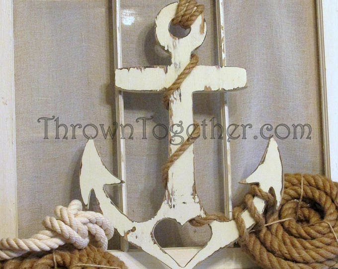 "Nautical Wood Wall Decor, Anchor with Heart and Rope, Handmade 20"" Wood Anchor, Rustic Wedding Prop, Gallery Wall, Distressed Wall Art"