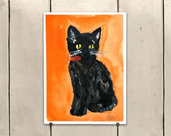 """Black Cat Original Art 9x11.5"""" One of a Kind 100% of the profits go directly to artists with disabilities Item 79 Mike H."""