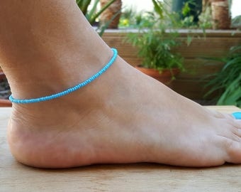 turquoise anklet beach surf summer holiday vacation seed bead jewellery