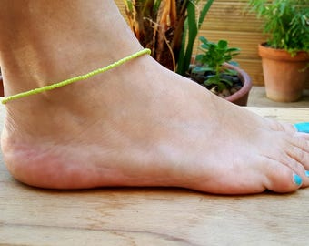 lime green anklet beach vibe citrus summer holiday surfing vacation seed bead jewellery
