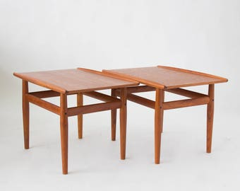 ON HOLD****Pair of Teak Side Tables by Grete Jalk for Glostrup