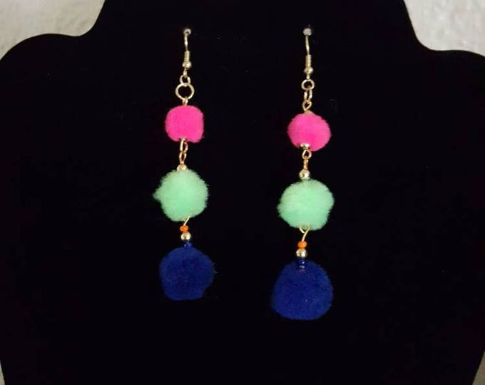 Cute Pom Pom Earrings 3 Tier 3 inch Dangle