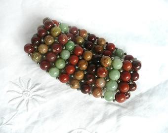 Vintage agate bracelet - semi precious stone bracelet - vintage agate stretch bracelet - green and brown agate bracelet