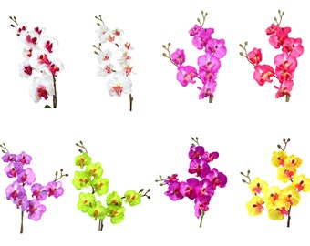 "17"" Artificial Silk Butterfly Phalaenopsis Orchid Flower Spray - (White/Pink/Purple/Viotet/Green/Yellow)"