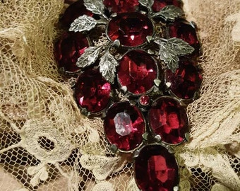 Vintage Dress Clip or Pendant with Lucious Ruby Red Faceted Stones Art Nouveau