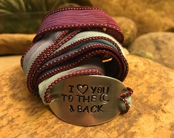 I love you to the moon and back silk wrap bracelet, graduation gifts, Mother's Day gifts, yoga jewelry for him or her