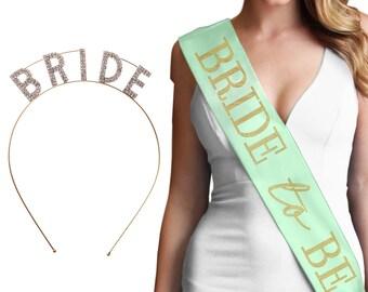 Luxe Mint Green with Gold Bride Set -   Sash sash & Rhinestone Bride Headband,  Bride Gift, Bridal Shower Sash, Bachelorette Party Sash