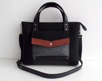 Black Gray Brown Wool Felt Genuine Leather Handbag Bag