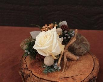 Woodland Winter Rose Wedding Boutonniere, Rustic Boutonniere, Rose Boutonniere, Grooms Boutonniere, Dried Flower Boutonniere, Bridal Bouquet