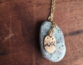 Mountain Necklace - brass gold mini mountain charm necklace