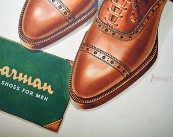 Jarman Men's Shoe Ad Original  Watercolor Art Signed by Artist Hamlet c. 1940 vintage Ephemera Advertisement