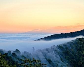 Blue Ridge Parkway,CANVAS Wrap, BRP, Smoky Mountains, Blue Ridge Photography, Pounding Mill, Smoky Mt,Wall Art, ,Sunrise, Fog,Mountain Photo