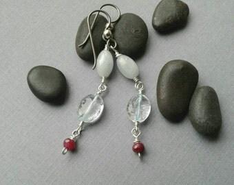 Modern Classic Drop Earrings, Aquamarine Gemstones, Red Ruby Gemstone Beads, Niobium Ear  Wires, Sterling Silver, Beaded Links, Elegant
