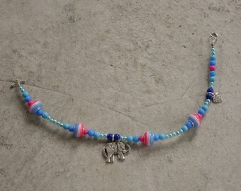 280mm Blue and Pink Elephant Charm Bracelet