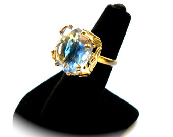 Signed Emmons Vintage Cocktail Statement Ring  Large Blue & Clear Stone in  Golden Open Work Setting