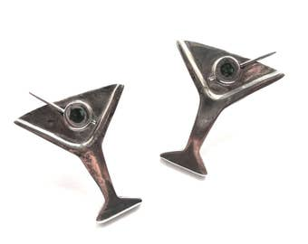 """Vintage A H D Sterling Silver Martini Glass Earrings """"Shaken, Not Stirred""""  Olives included.  Mexico 925"""