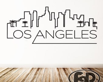 wall decal sticker los angeles outline skyline 22 tall 55 wide in white or