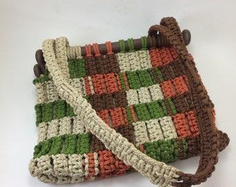 Macrame purse 70s hippie boho style handbag  green brown orange cream rope muslin lined clean