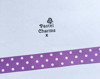 Purple pokadot ribbon  2 yards 22mm wide x