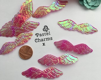 Pack of 10 iridescent hot pink wings x