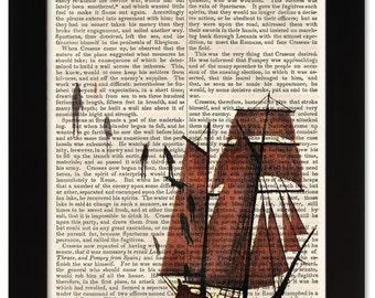 DECEMBERISTS Castaways and Cutouts Art on 1850 Antique Book Page - Civil War / Victorian Era - Rock & Roll meets Ancient History