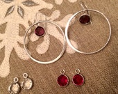Sterling Silver hoops, Choice of Red, Clear, Purple or Aqua Crystal earrings - Sterling Silver earrings - hoop earrings - Sterling Silver