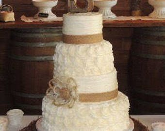 Rustic Wedding Cake Burlap Flower - Farmhouse, Southern, Barn, Country Events - Country Wedding