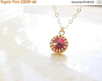 CHRISTMAS SALE - Red necklace - Red necklace gold, Dark red necklace, Red wine necklace, Gold necklace, Garnet necklace
