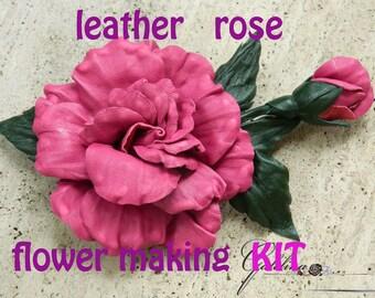 Leather rose flower making kit, craft kit, DIY kit, leather flower kit, leather brooch kit, leather jewelry kit, DIY leather jewelry kit