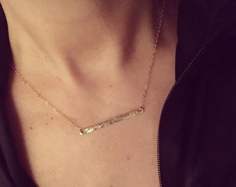 14k Goldfilled OR Sterling Silver Stamped Coordinates Necklace
