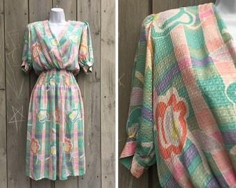 Vintage dress | 1980s Maggy London pastel silk floral print dress