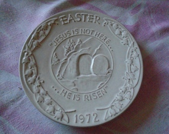 Vintage Collectible Frankoma Easter Plate Made For Oral Roberts Association , Tulsa, OK., in 1972