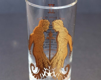 GEMINI the TWINS Zodiac Sign 22k Gold Applique Mid Century Bar Glass 1970s