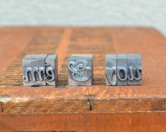 Ships Free - Me & You - Vintage letterpress metal type collection - wedding, anniversary, love, girlfriend, boyfriend, industrial TS1011