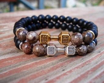 Black Bead Bracelet, Onyx Bracelet, Gift For Men, Gift For Her, Barbell Jewelry, Fitness Jewelry, Motivational Jewelry,  Charm Bracelet