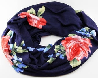 Navy Blue Floral Jersey Knit Infinity Scarf for Spring