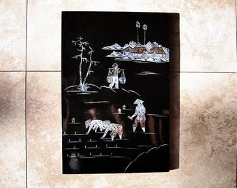 Japanese Inlay Mother Of Pearl Lacquer Wood Wall Hanging Plaque Rural Scene