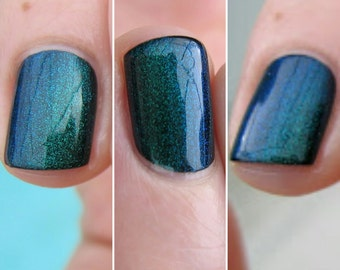 Unicorn Duochrome Color Shifting Top Coat Shimmer Green to Blue Indie Nail Lacquer Starlight and Sparkles Polish Liquid Euphoria
