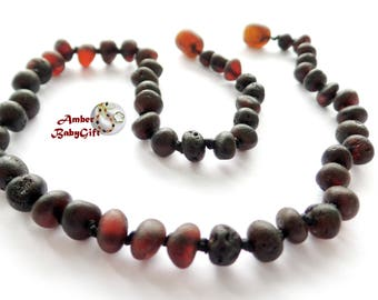 Raw (Unpolished) Baltic Amber Teething Necklace - Natural Baltic Amber - Black Amber Beads - Screw Clasp - Choose Your Length, K-1