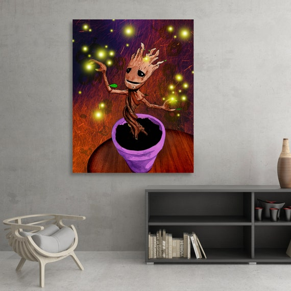 Guardians of the Galaxy Dancing Baby Groot SIGNED Fine Art Print