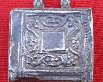 Antique Ethnic Tribal Old Silver Pendant Amulet Necklace Rajasthan India