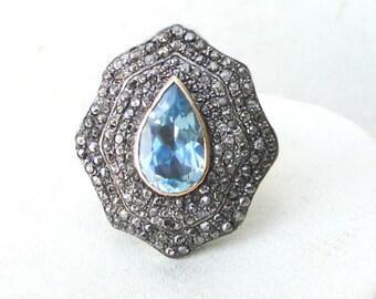 Victorian Diamond Blue Topaz Gold Silver Ring India