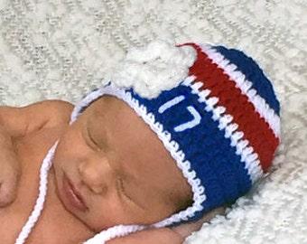 BABY GIRL HOCKEY Royal Blue Red Hockey, Hockey Baby Girl Hat, Crochet Hockey Hat, Baby Knit Hockey Hat, Hockey Baby Gift, Baby Girl Crochet