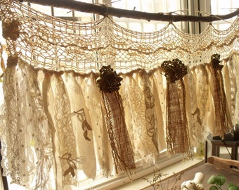 Custom Rustic Romantic ANTIQUE Lace Kitchen Valance Shabby BOHO Chic Vintage Crochet Lace Burlap Curtain Strip Fabric Banner Wedding Garland