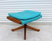 Reserved for Lisa: Turquoise Vinyl Ottoman with Walnut Footed Base Aqua Mid Century Modern Foot Stool Retro Atomic Lounge Chair Ottoman